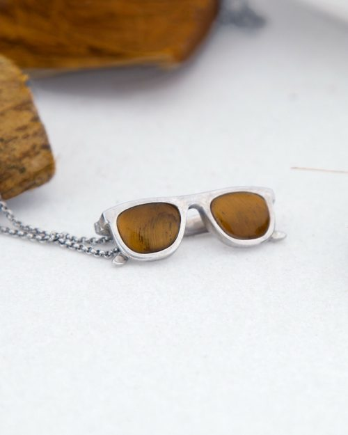 Plata sostenible-colgante gafas-ojo de tigre-NEHCAA
