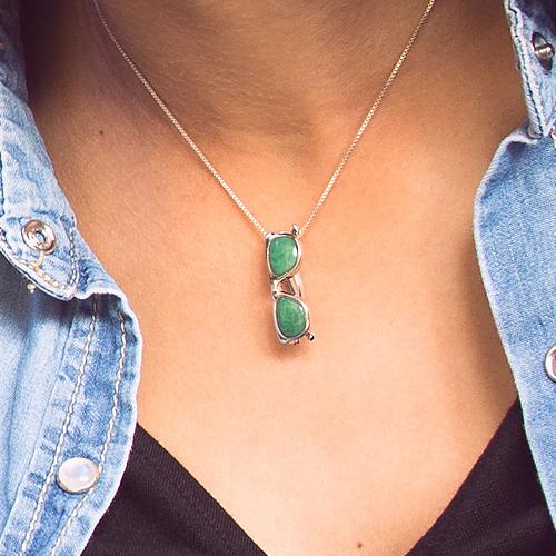 piedras preciosas-colgante de plata sostenible con aventurina