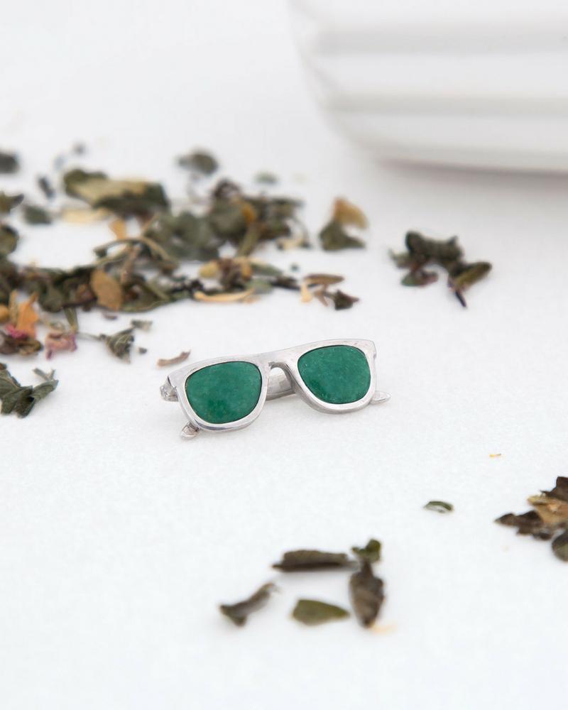 colgante de plata sostenible con aventurina-gafas-NEHCAA jewelry