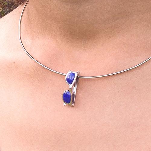 piedras preciosas-colgante de plata sostenible con lapislázuli