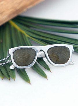colgante de plata sostenible con obsidiana