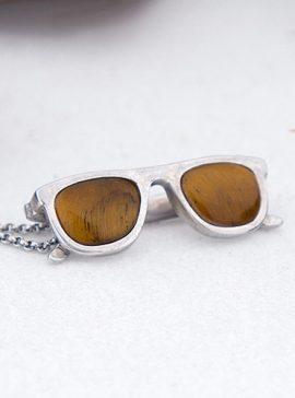 colgante de plata sostenible con ojo de tigre
