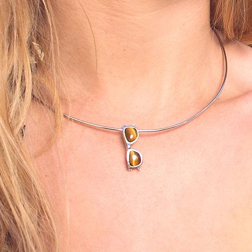piedras preciosas-colgante de plata sostenible con ojo de tigre-NEHCAA