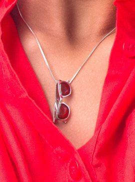 colgante plata sostenible con cornalina