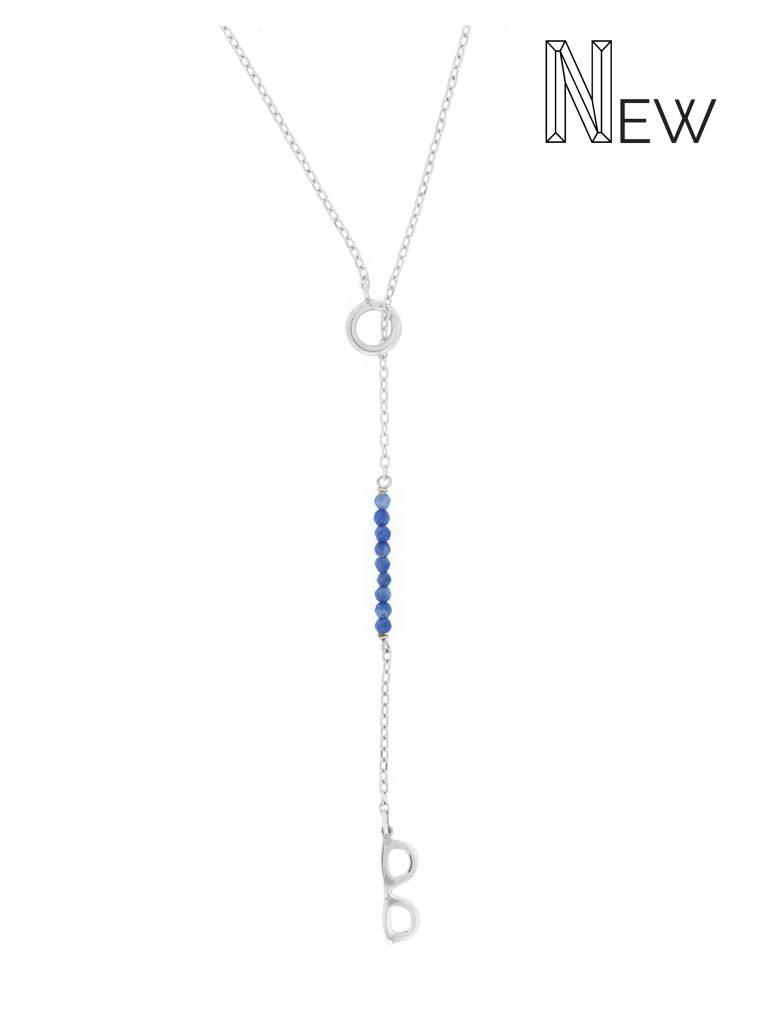 Cadena Larga de Plata Mini GLASSES con Calcedonia Azul NEHCAA Jewelry
