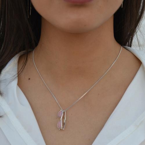 piedras preciosas-colgante solidario-cuarzo rosa