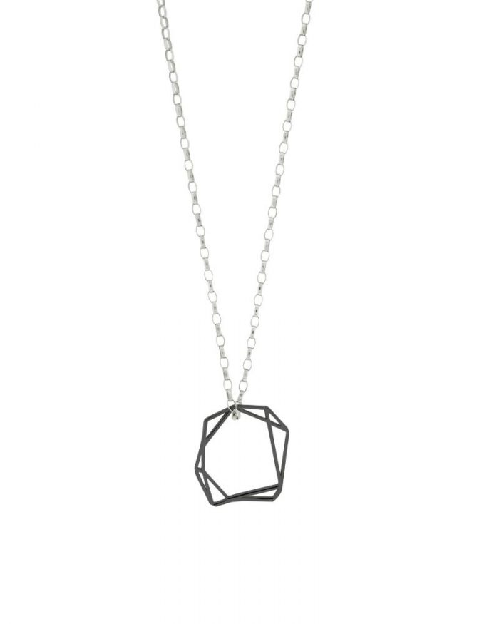 Collar de oro negro Linda_Plata Sostenible_Detalles_NEHCAA Jewelry